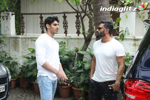 Suniel Shetty With Son Ahan Spotted at Sajid Nadiadwala's Residence