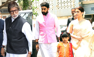 Amitabh, Abhishek at Aishwarya Rai's Father Prayer Meet