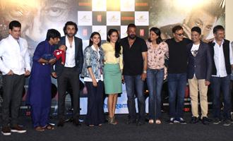 Sanjay Dutt, Ranbir Kapoor, Aditi Rao Hydari at 'Bhoomi' Trailer Launch
