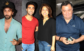 Rishi Kapoor, Ranbir Kapoor & Neetu Singh at Special Screening of 'Jagga Jasoos'