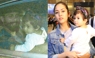 Shahid Kapoor, Mira Rajput & Her Daughter Spotted at Airport