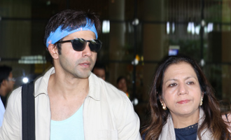 Varun Dhawan With His Mother Spotted at Airport