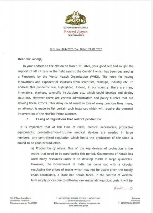 pinarayi vijayan letter
