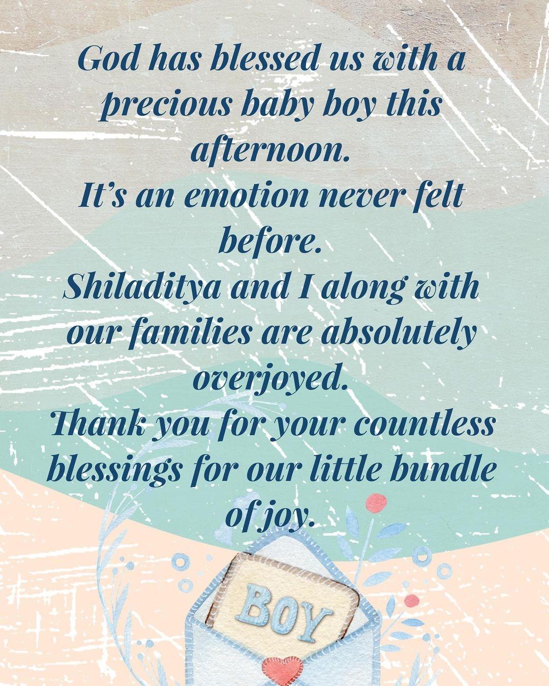shreya ghoshal baby boy news