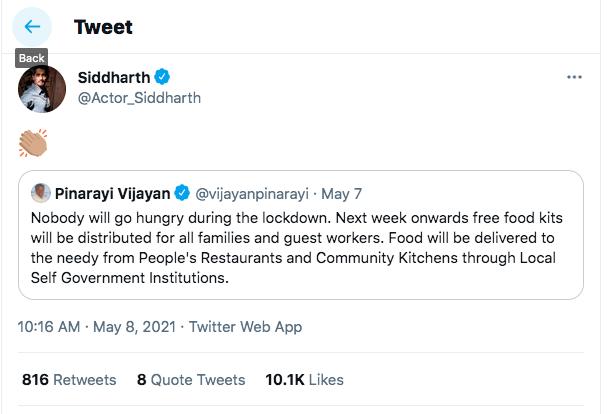siddharth pinarayi tweet