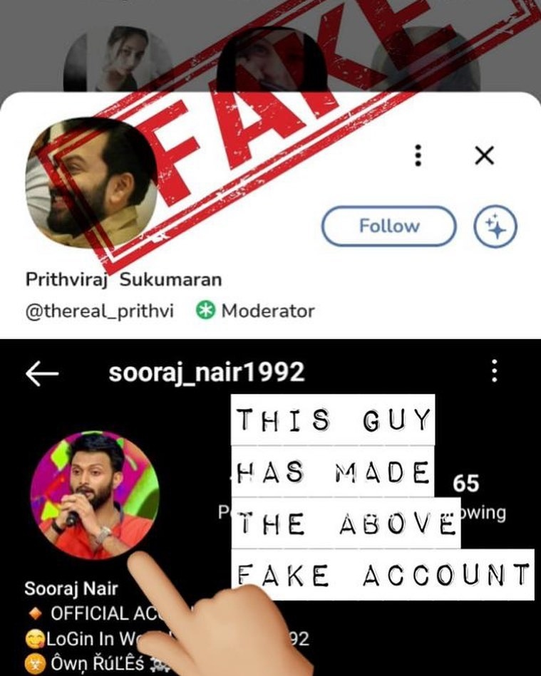 prithviraj fake account