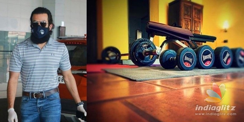 Prithviraj sets up a mini gym in his quarantine room