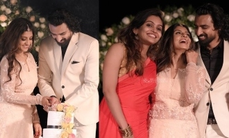 Watch: Celebs galore at actress Aathmiya's wedding reception
