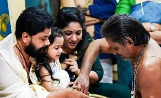 Dileep shares a glimpse of his daughter's Vidhyarambham ceremony