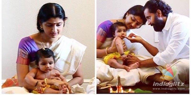 PHOTOS: Divya Unnis baby gets 'choroonu' at home