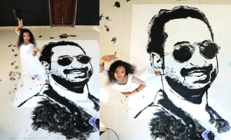 Girl dances and paints Fahadh Faasil's picture using feet