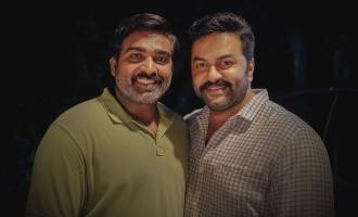 Actor Indrajith shares a click with Vijay Sethupathi