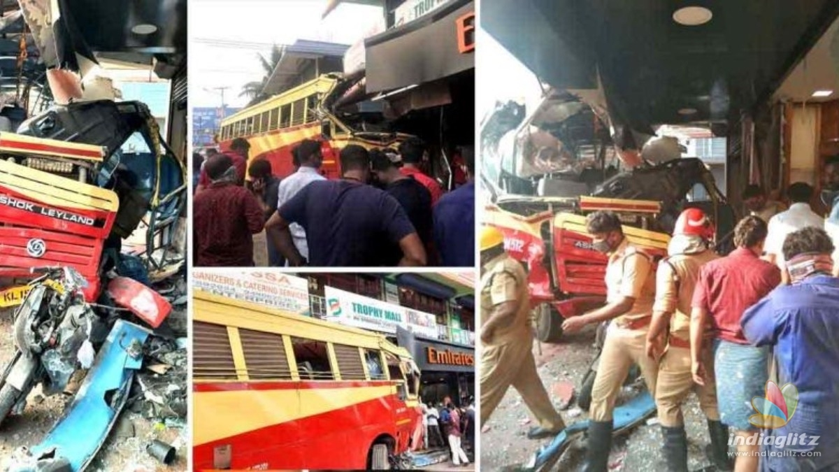 Bus carrying 35 passengers, rammed in to a roadside shop