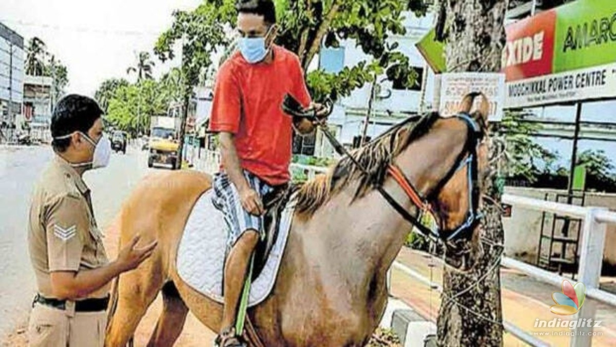 Man rides on a horse during lockdown; Stuns Police with his reply
