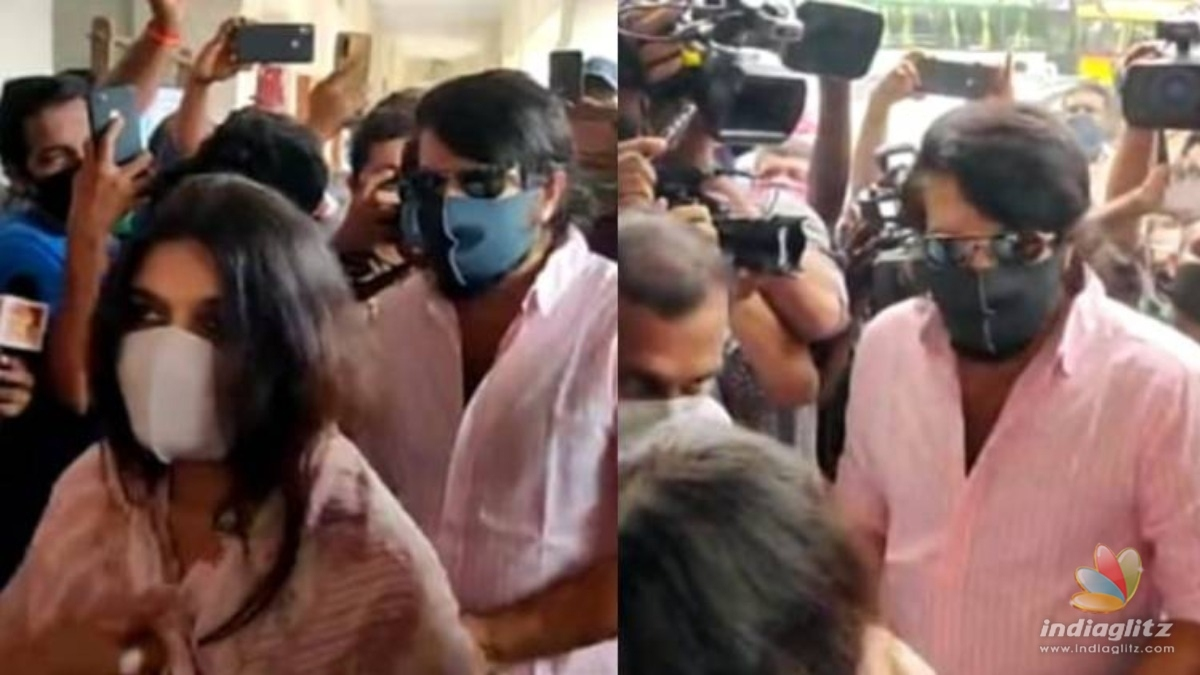 Assembly Elections: Mammootty arrives with wife Sulfath to cast vote