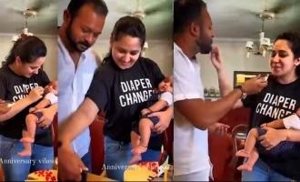 Watch: Miya George and husband celebrate wedding anniversary with their baby boy