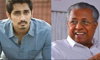"""Pinrarya Vijayan"", actor Siddharth praises Kerala CM Pinarayi Vijayan"