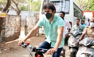 Thalapathy Vijay cycles to the election booth to cast his vote