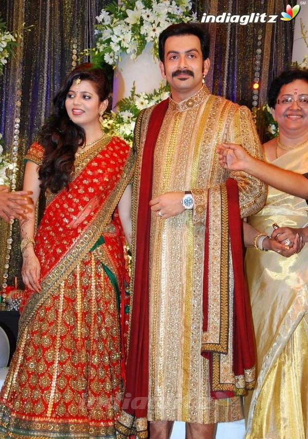 Prithviraj Supriya Menon Wedding Reception Photos Tamil Actress