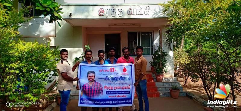 Vishnu Vishal Fans Celebrated Birthday By Donating Blood