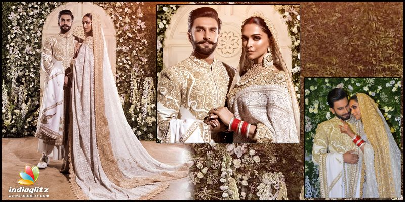 DeepVeer dazzle in ivory and gold ensemble for Mumbai reception