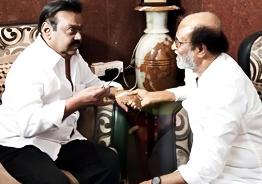 Superstar Rajnikanth meets Captain Vijayakanth!