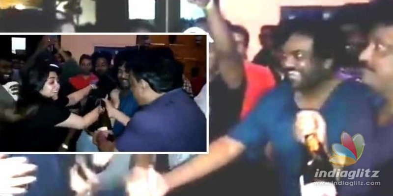 Director pours champagne on actress during celebration!