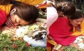 Meghana Raj breaks down at husband's funeral video makes fans even sadder