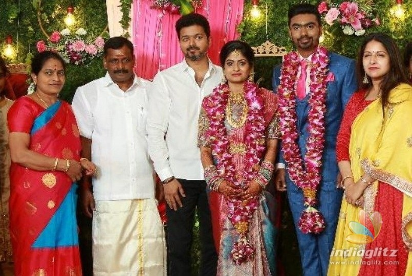 Thalapathy Vijay graces engagement function of his PA Rajendhrans daughter
