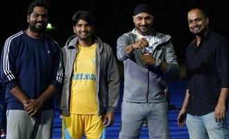 CSK Singam Harbhajan Singh starts shooting with Santhanam