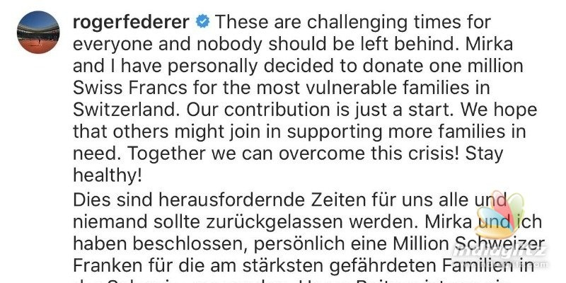 Roger Federers massive donation for corona affected people!