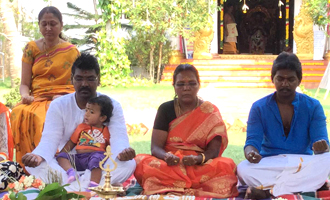 Lawrence Lays foundation stone for his Mother temple