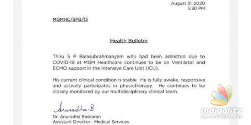 Fans happy as hospital reveals SP Balasubrahmanyam is fully awake and responsive!