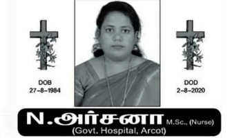 Villagers protest against burying the body of deceased nurse Archana