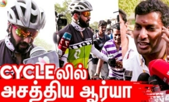 Arya cycles to cast his VOTE for Nadigar Sangam Elections 2019
