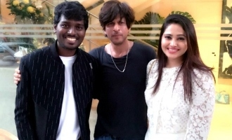 Atlee  and  his wife with Sharukkhan at his birthday party