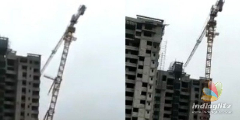 Fani cylone devastation - Video of giant construction crane falling on houses