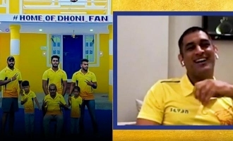 MS Dhoni's lovely reaction to his fan who painted house with csk theme!