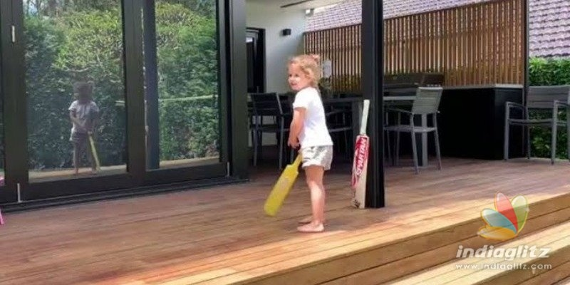 David Warners little daughter becomes Virat Kohli - Cute video