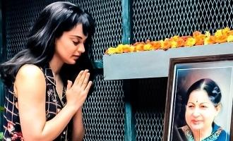 ஜெயலலிதா புகைப்படத்திற்கு மரியாதை செலுத்திய 'தலைவி'