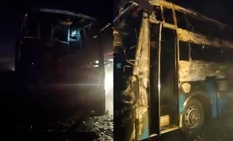 சாலையில் சென்றுகொண்டிருந்த பஸ் திடீரெனத் தீப்பிடித்து எரிந்த சம்பவம்!!! குழந்தை உட்பட 5 பேர் பலி!!!