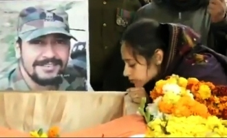 Wife's tearful last kiss to killed soldier in Pulwama encounter