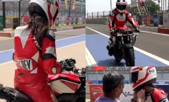 Thalapathy heroine's  Thala style bike racing video will stun you