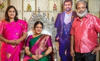 Actress Magna raj Valaikappu function with Chiranjeevi sarja cutout