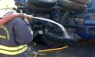 Oil lorry accident at Chennai Gemini Bridge