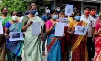 Women gather in protest against Tamil actress in Chennai