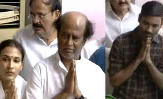 Rajinikanth, Aishwarya Dhanush, Latha pay tribute to Jayalalithaa at Rajaji Hall