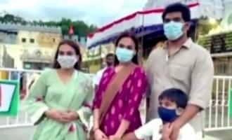 Rajini's daughters Aishwarya and Soundarya spotted at Tirupathi temple
