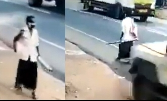 kerala kollam man escapes being hit by semi truck by an inch near death experience four wheeler swerves away