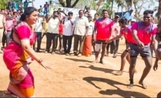 Veteran actress Roja playing Kabaddi with men's team video goes viral